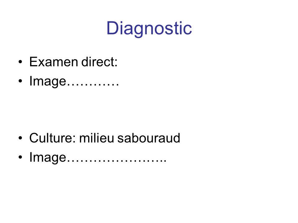 Diagnostic Examen direct: Image………… Culture: milieu sabouraud