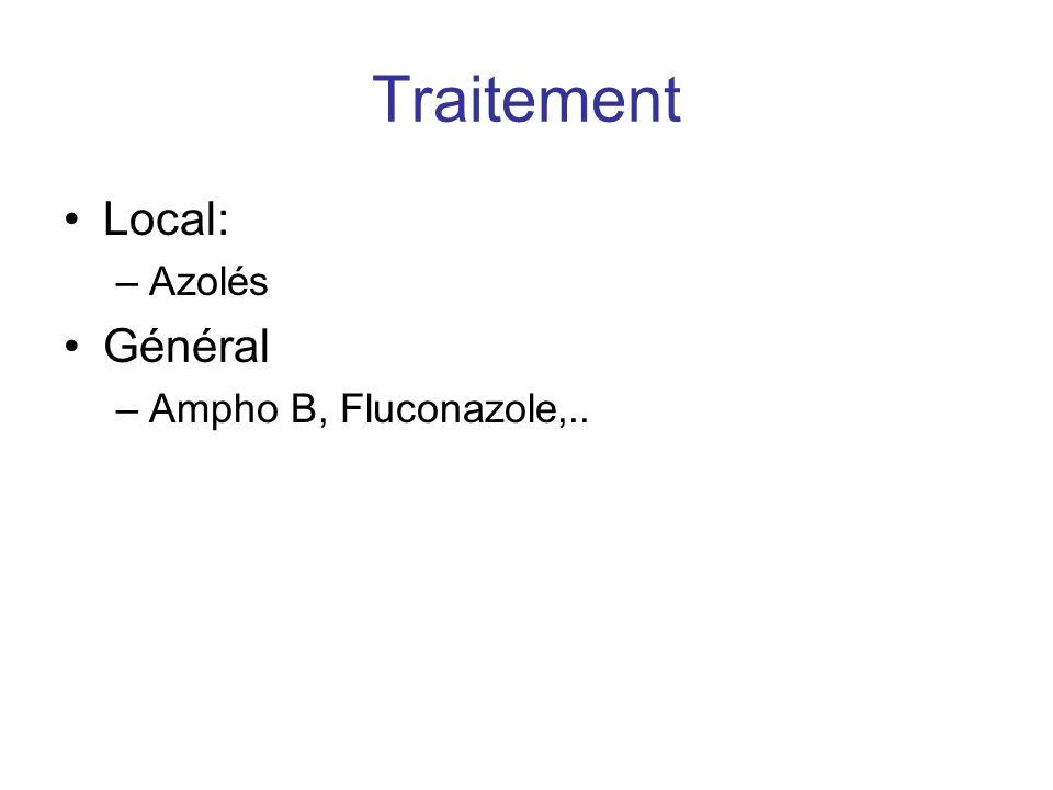 Traitement Local: Azolés Général Ampho B, Fluconazole,..