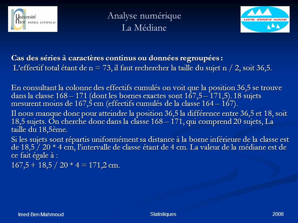 Analyse numérique La Médiane