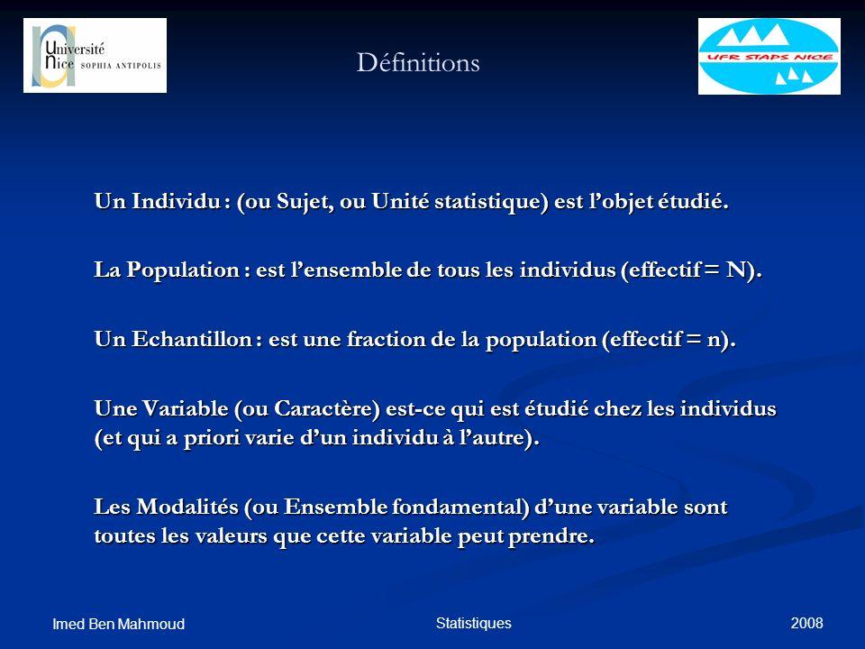 Définitions Un Individu : (ou Sujet, ou Unité statistique) est l'objet étudié. La Population : est l'ensemble de tous les individus (effectif = N).