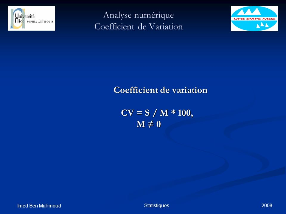 Analyse numérique Coefficient de Variation