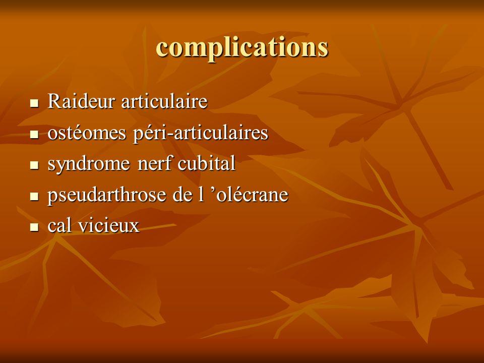 complications Raideur articulaire ostéomes péri-articulaires