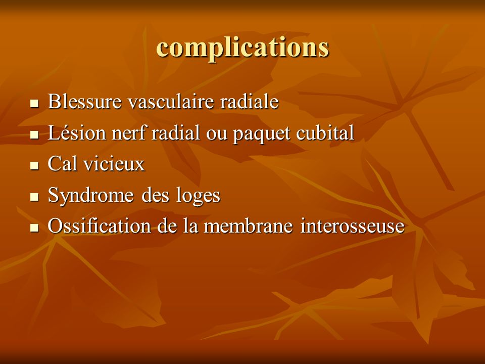 complications Blessure vasculaire radiale