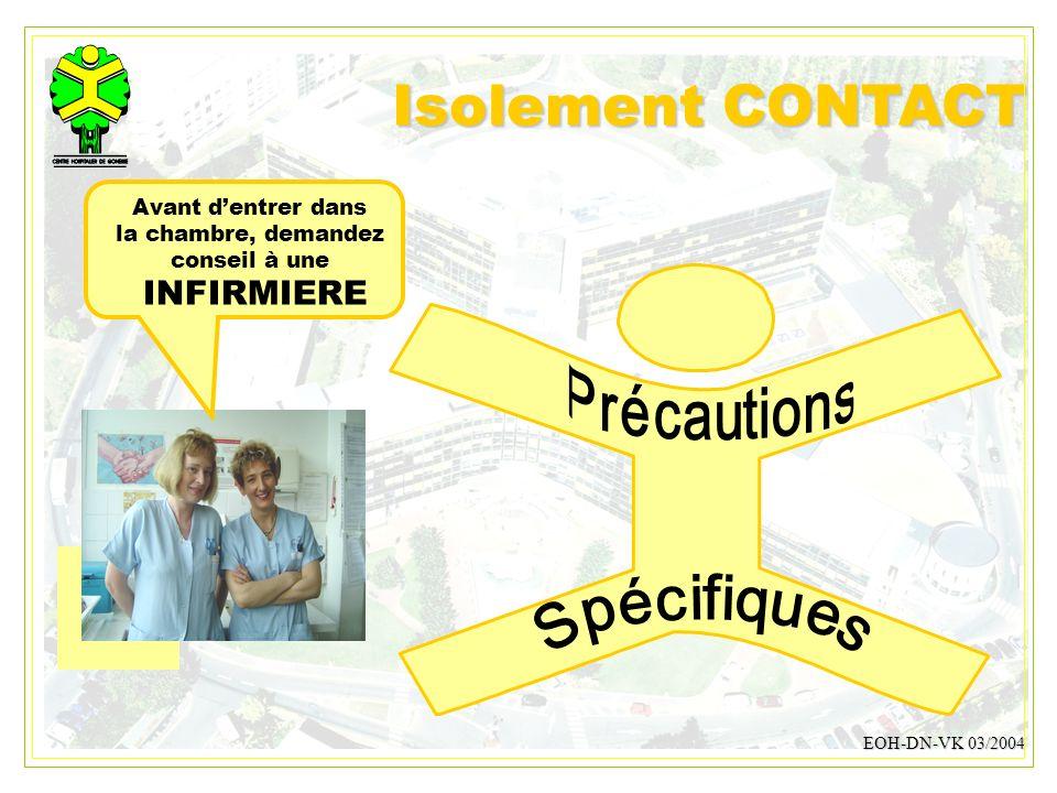 Isolement CONTACT INFIRMIERE Spécifiques Précautions
