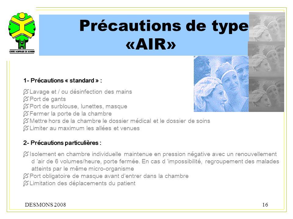 Précautions de type «AIR»
