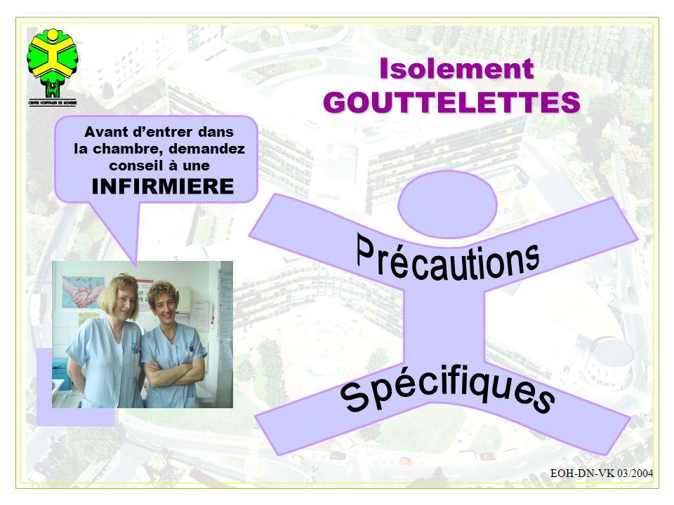 Isolement GOUTTELETTES INFIRMIERE Spécifiques Précautions