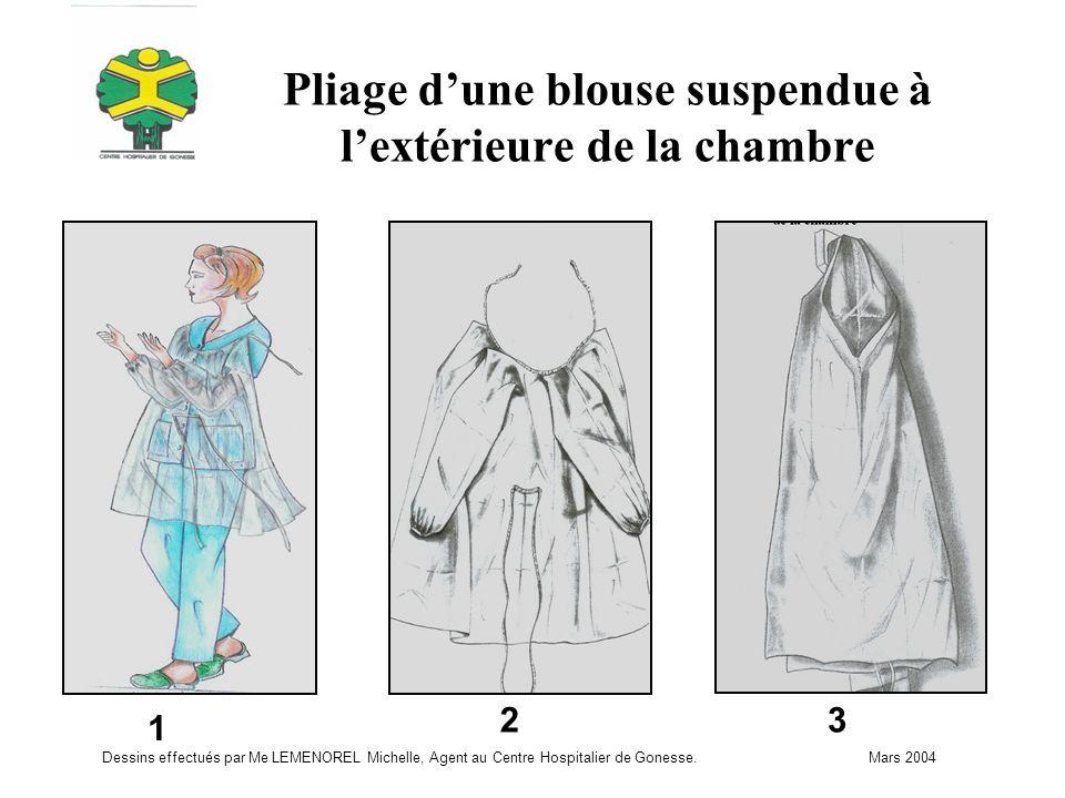 Pliage d'une blouse suspendue à l'extérieure de la chambre