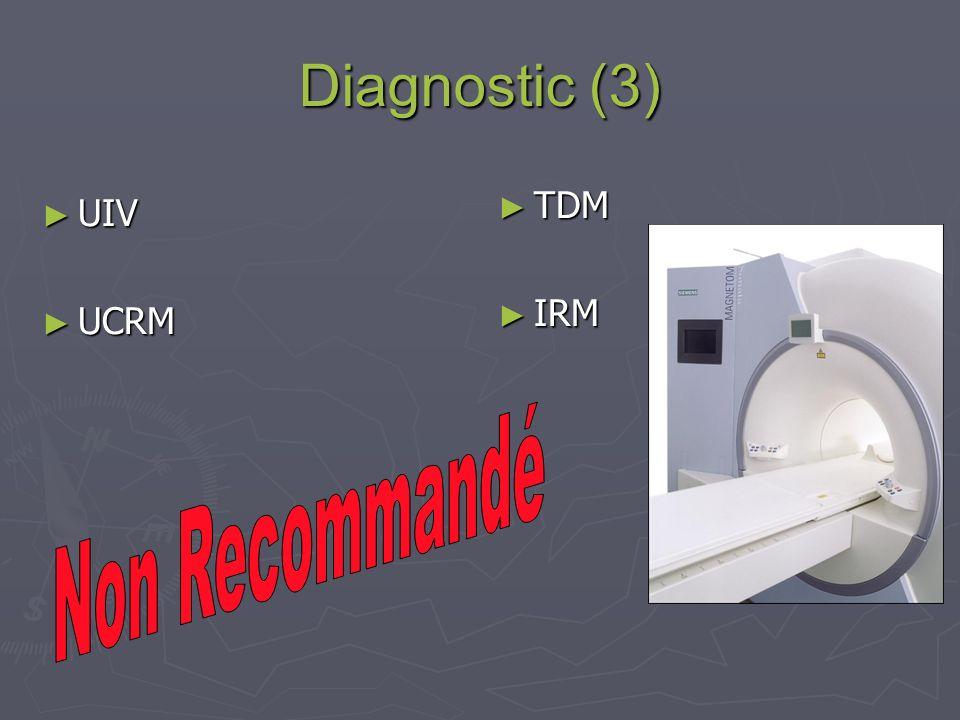 Diagnostic (3) TDM IRM UIV UCRM Non Recommandé