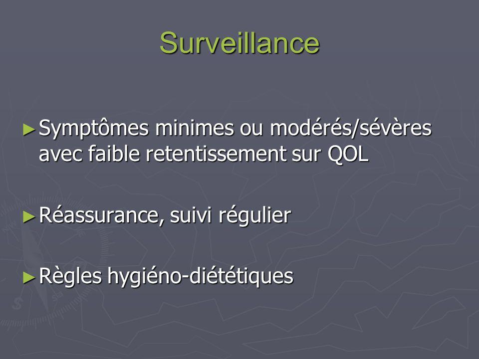 Surveillance Symptômes minimes ou modérés/sévères avec faible retentissement sur QOL. Réassurance, suivi régulier.