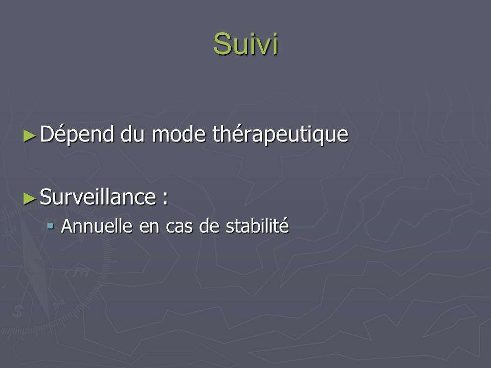 Suivi Dépend du mode thérapeutique Surveillance :