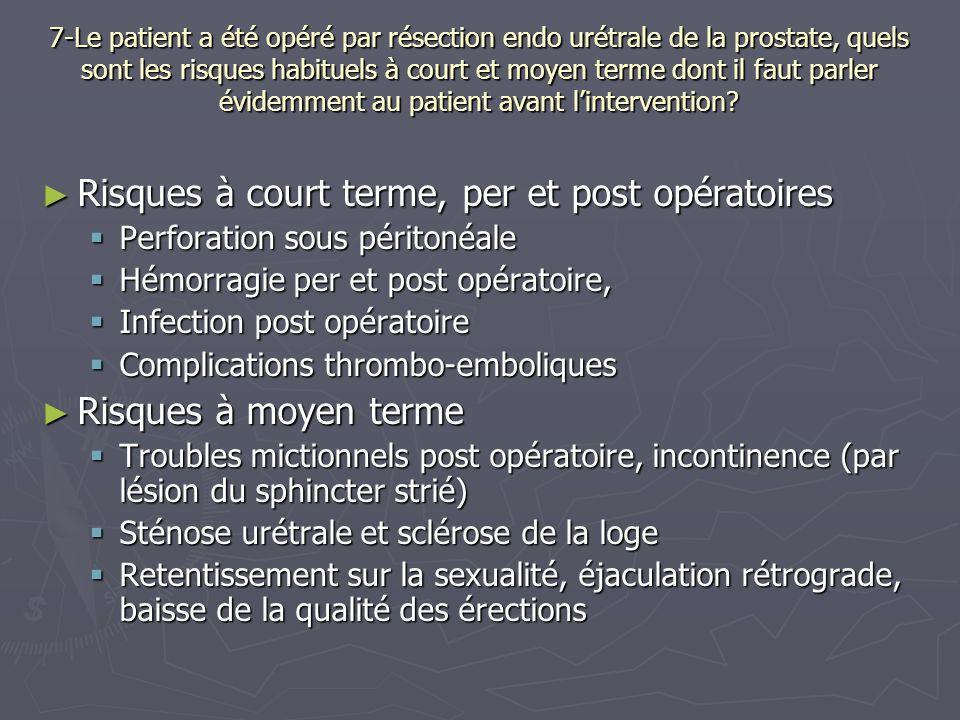 Risques à court terme, per et post opératoires