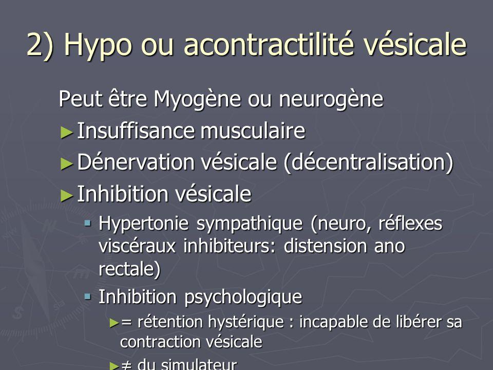 2) Hypo ou acontractilité vésicale