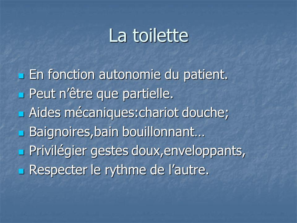 La toilette En fonction autonomie du patient.