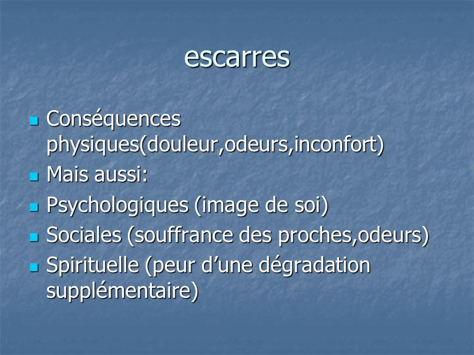 escarres Conséquences physiques(douleur,odeurs,inconfort) Mais aussi: