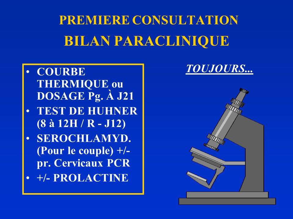 PREMIERE CONSULTATION BILAN PARACLINIQUE
