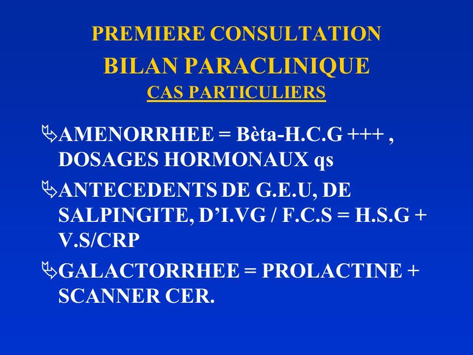 PREMIERE CONSULTATION BILAN PARACLINIQUE CAS PARTICULIERS