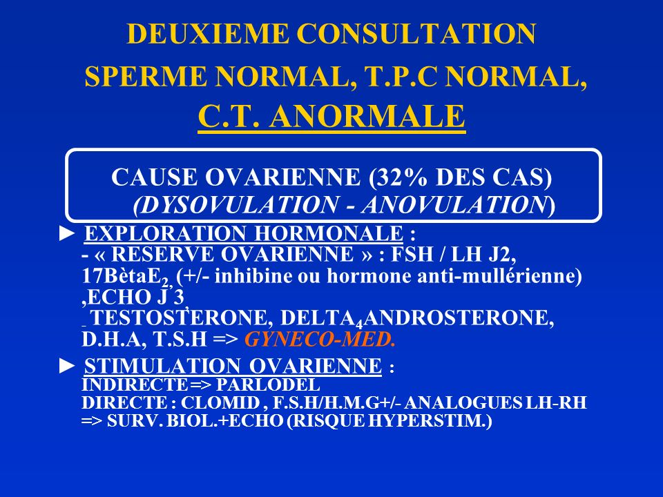 DEUXIEME CONSULTATION SPERME NORMAL, T.P.C NORMAL, C.T. ANORMALE