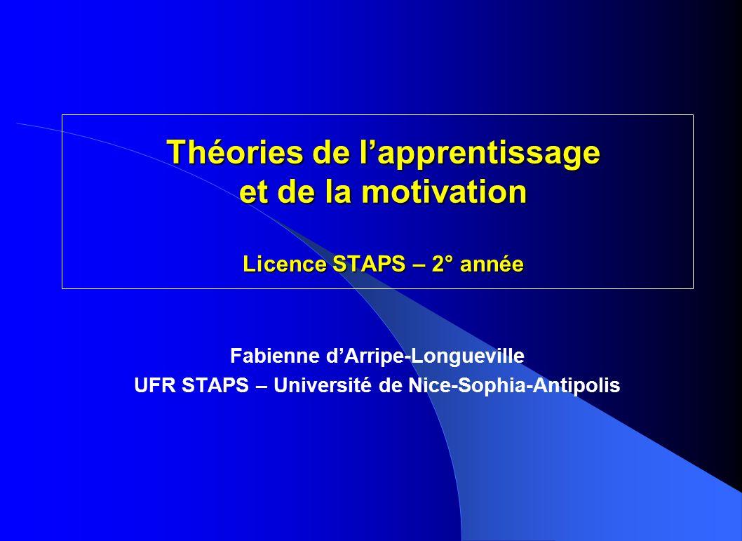 Théories de l'apprentissage et de la motivation Licence STAPS – 2° année