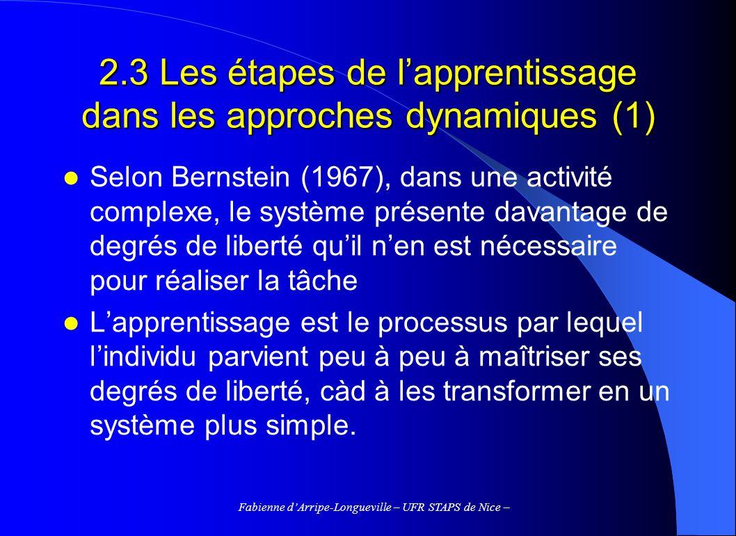 2.3 Les étapes de l'apprentissage dans les approches dynamiques (1)
