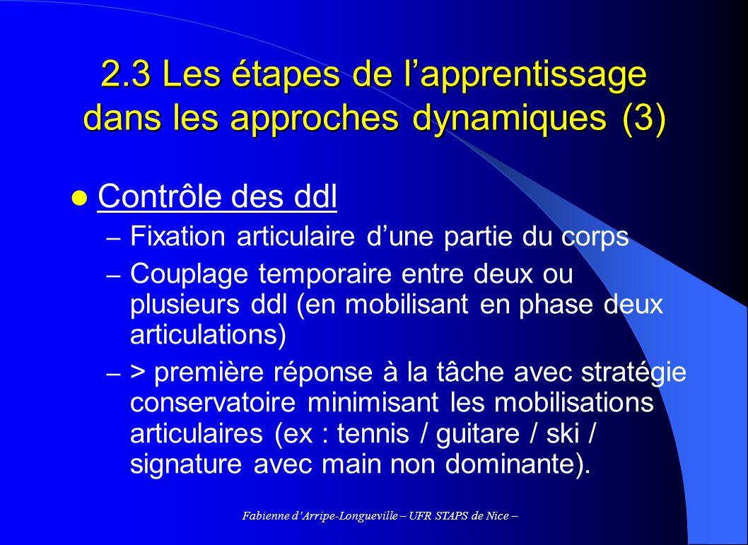 2.3 Les étapes de l'apprentissage dans les approches dynamiques (3)