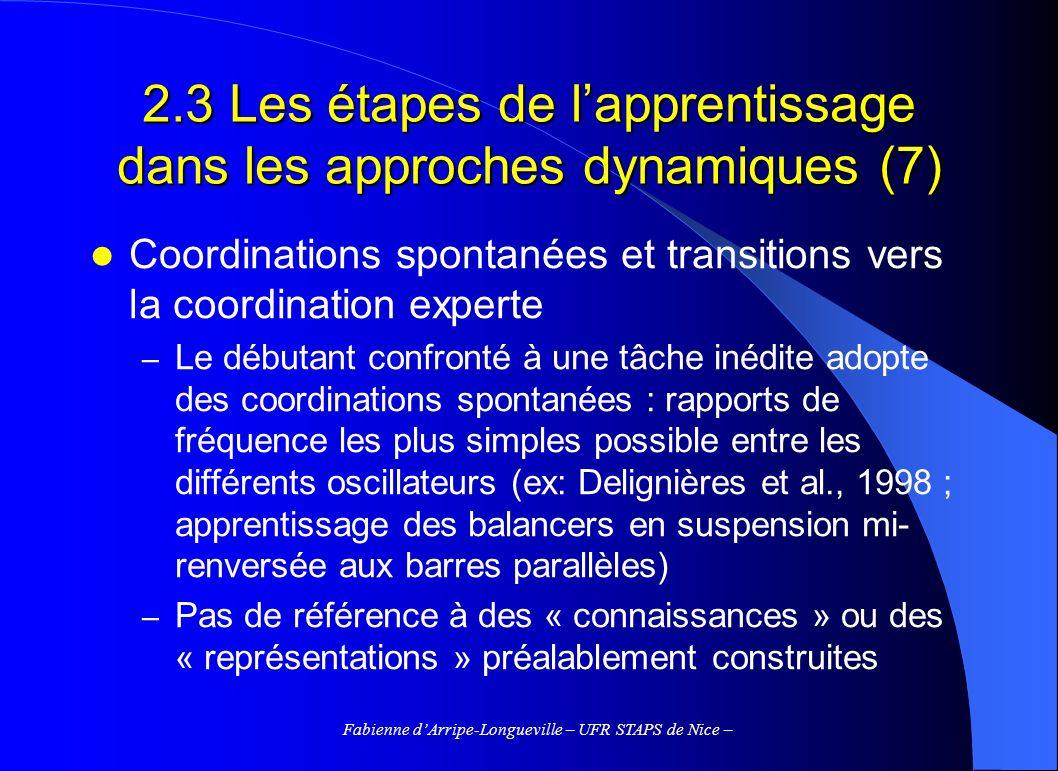 2.3 Les étapes de l'apprentissage dans les approches dynamiques (7)