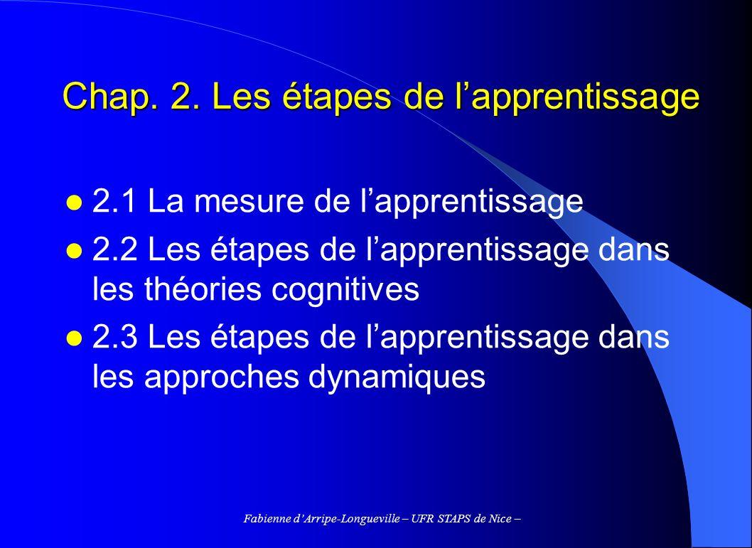 Chap. 2. Les étapes de l'apprentissage