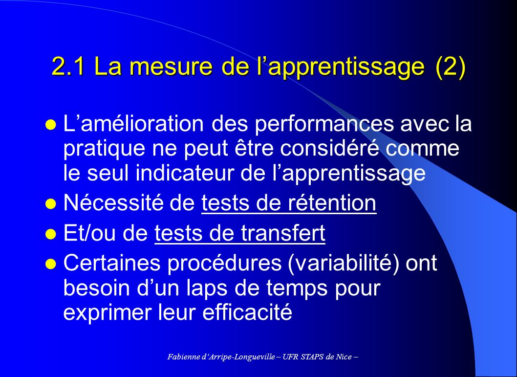 2.1 La mesure de l'apprentissage (2)