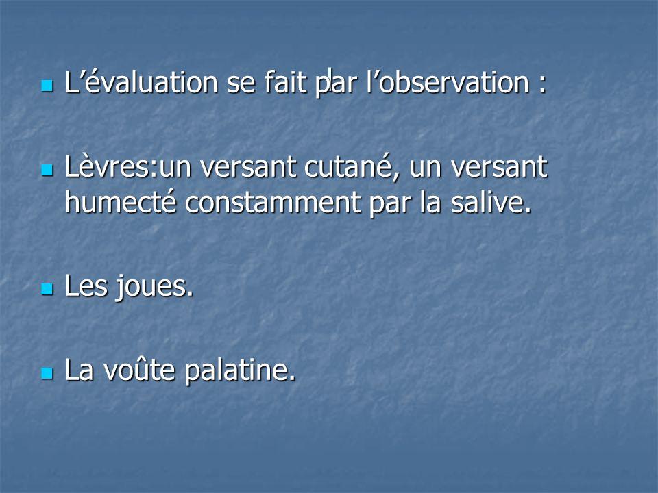l L'évaluation se fait par l'observation :