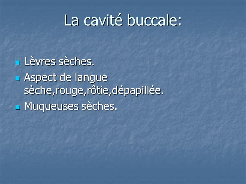 La cavité buccale: Lèvres sèches.