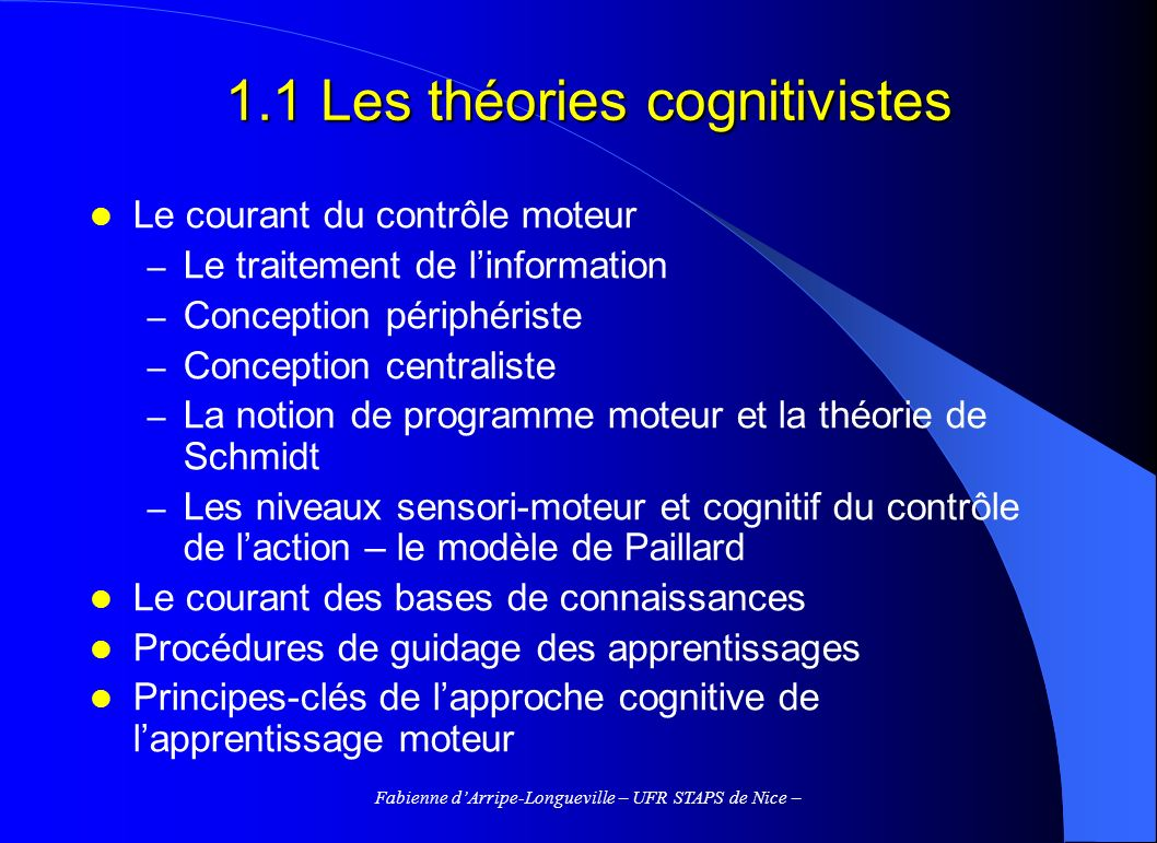 1.1 Les théories cognitivistes
