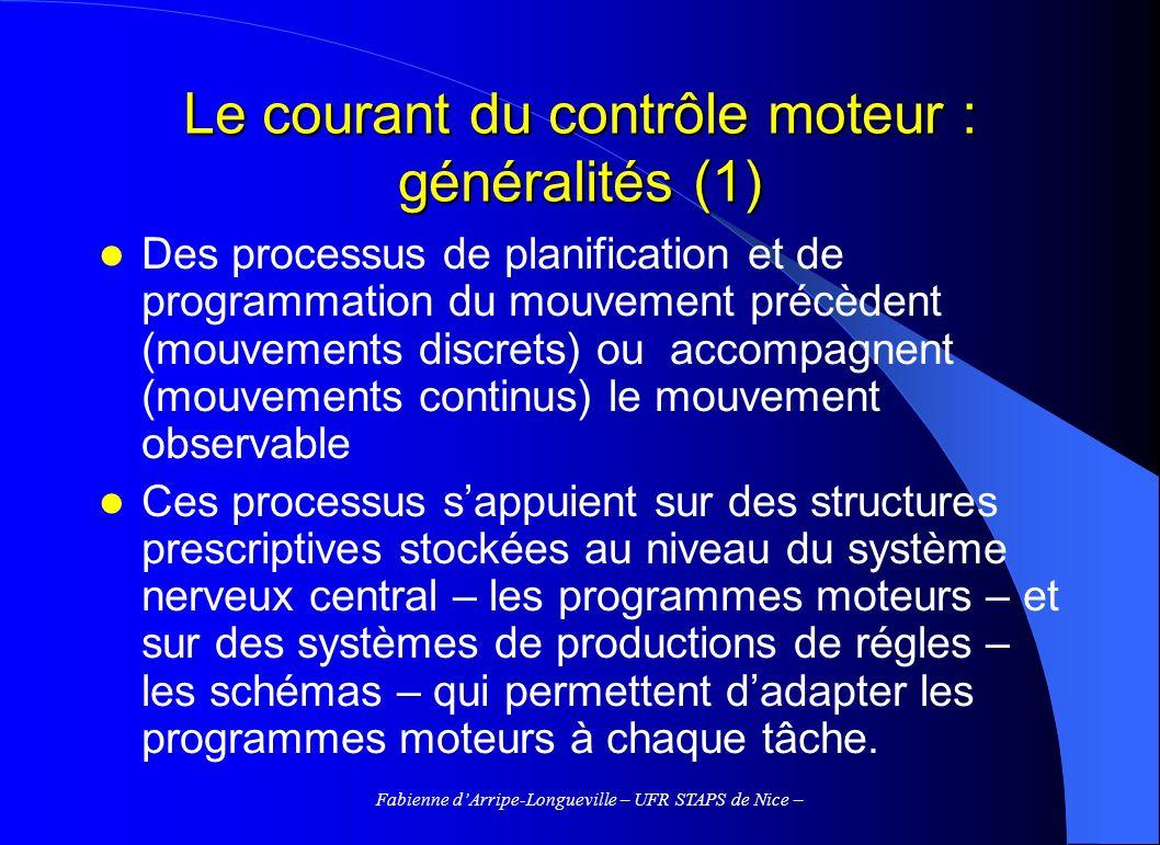Le courant du contrôle moteur : généralités (1)