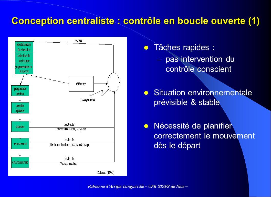 Conception centraliste : contrôle en boucle ouverte (1)