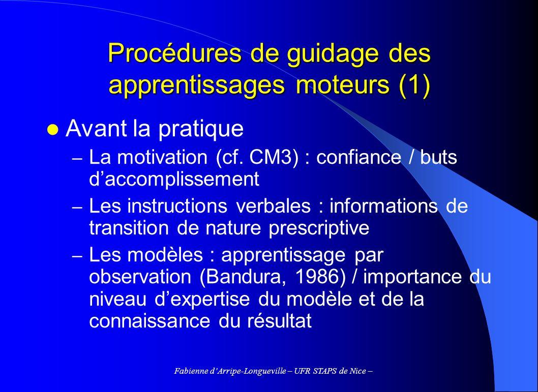 Procédures de guidage des apprentissages moteurs (1)