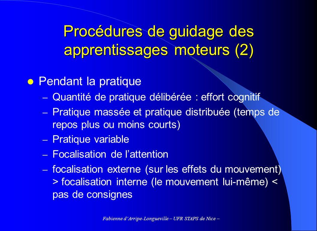 Procédures de guidage des apprentissages moteurs (2)