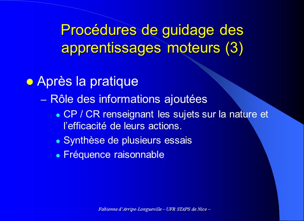Procédures de guidage des apprentissages moteurs (3)