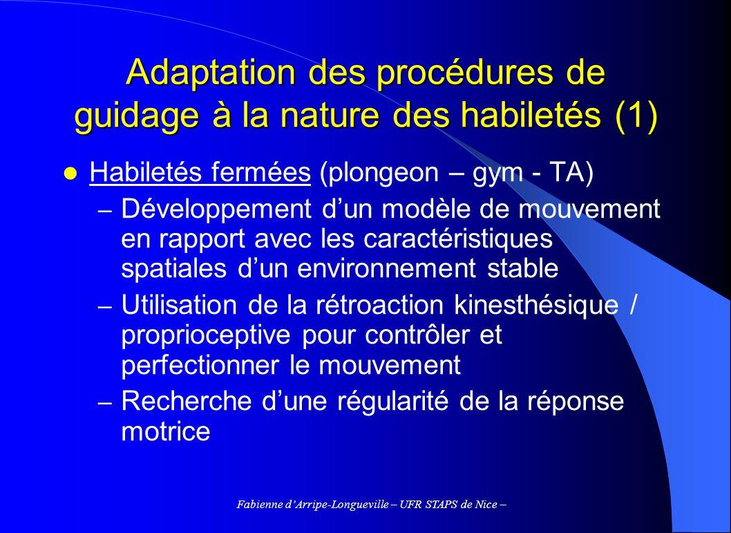 Adaptation des procédures de guidage à la nature des habiletés (1)