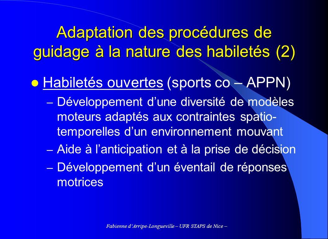 Adaptation des procédures de guidage à la nature des habiletés (2)