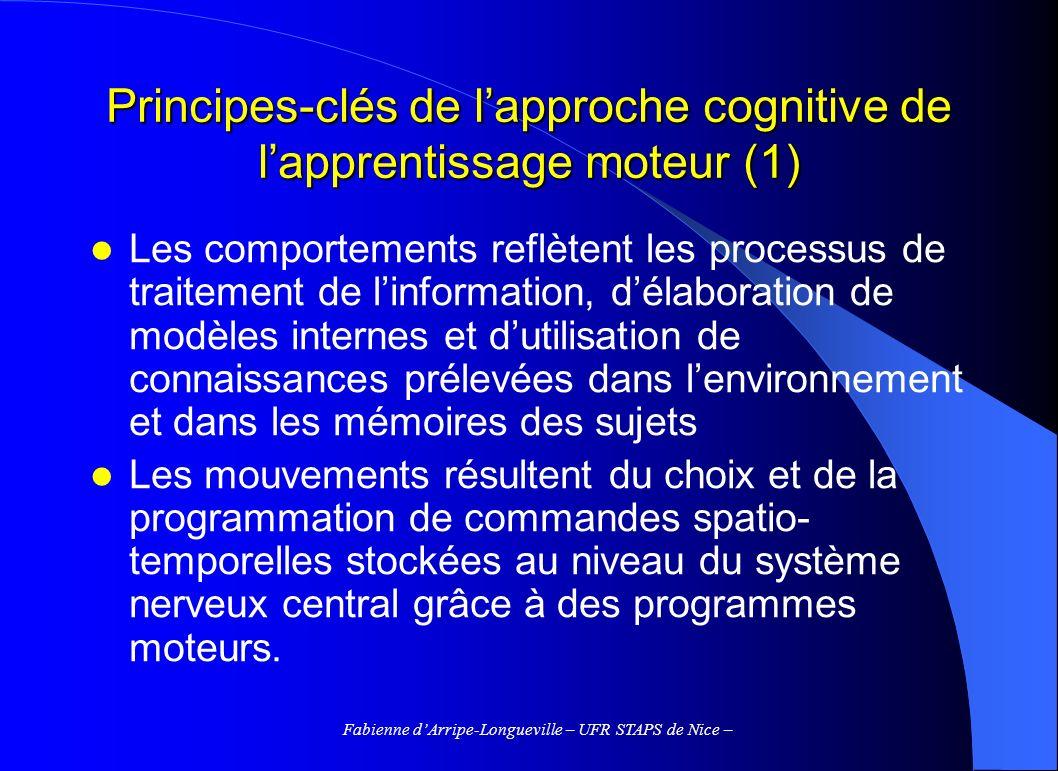 Principes-clés de l'approche cognitive de l'apprentissage moteur (1)