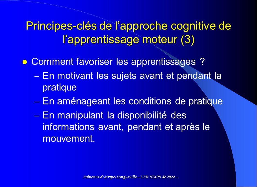 Principes-clés de l'approche cognitive de l'apprentissage moteur (3)