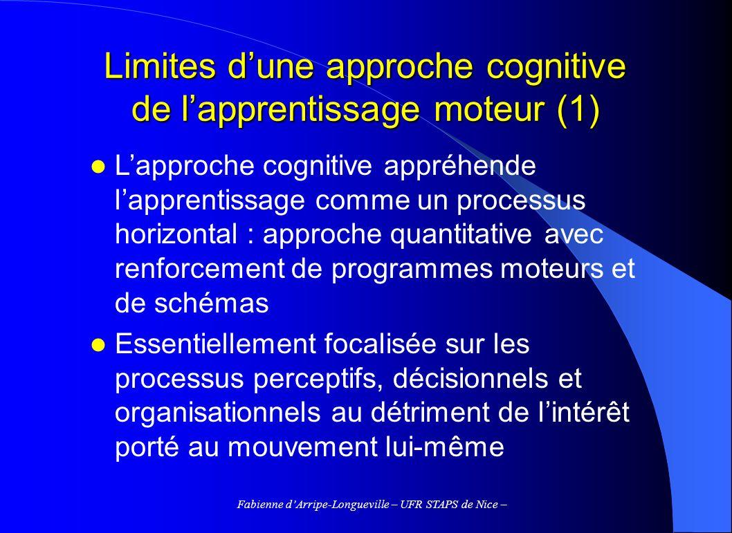 Limites d'une approche cognitive de l'apprentissage moteur (1)