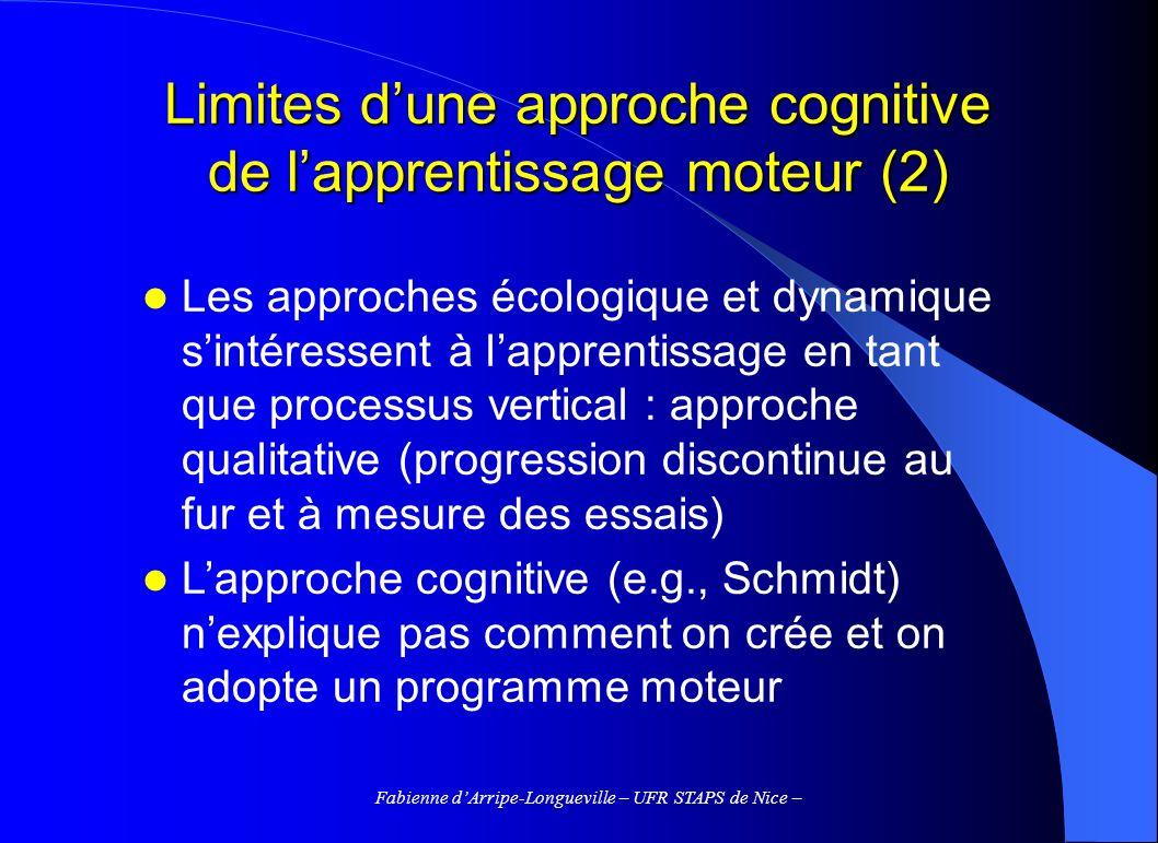 Limites d'une approche cognitive de l'apprentissage moteur (2)