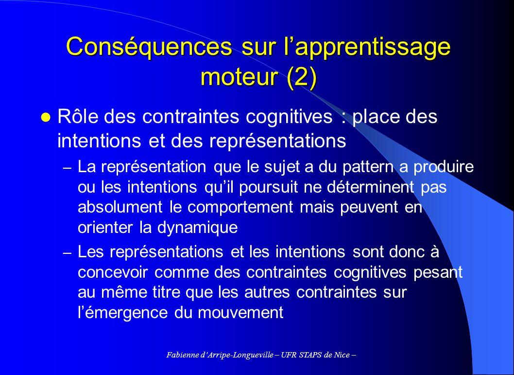 Conséquences sur l'apprentissage moteur (2)
