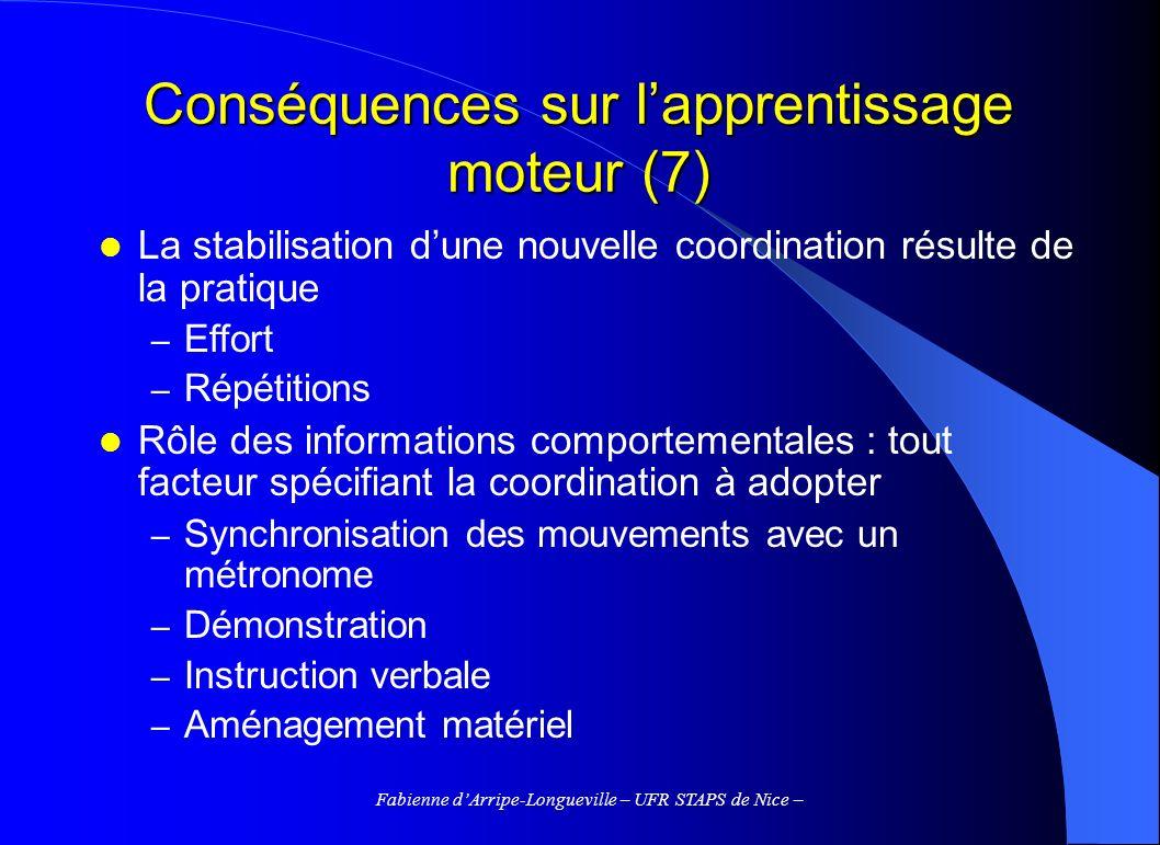 Conséquences sur l'apprentissage moteur (7)