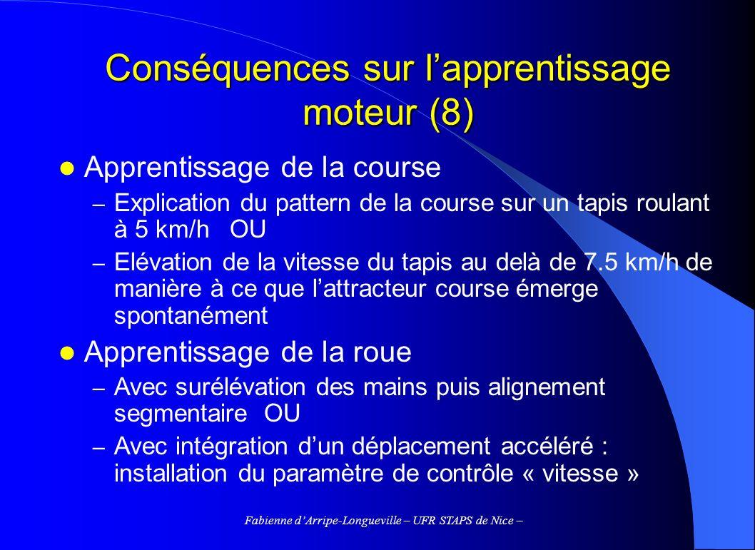 Conséquences sur l'apprentissage moteur (8)