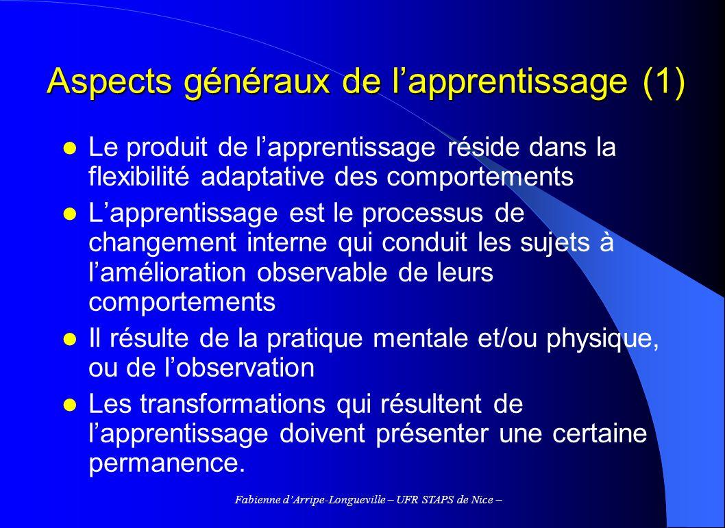 Aspects généraux de l'apprentissage (1)