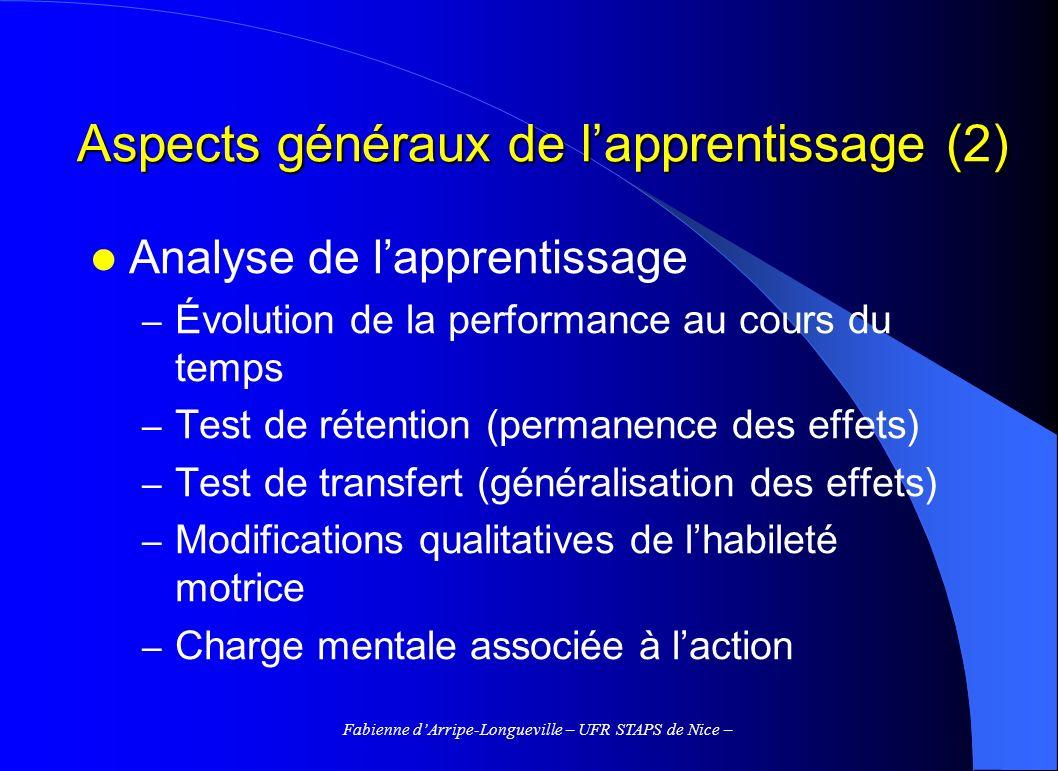 Aspects généraux de l'apprentissage (2)