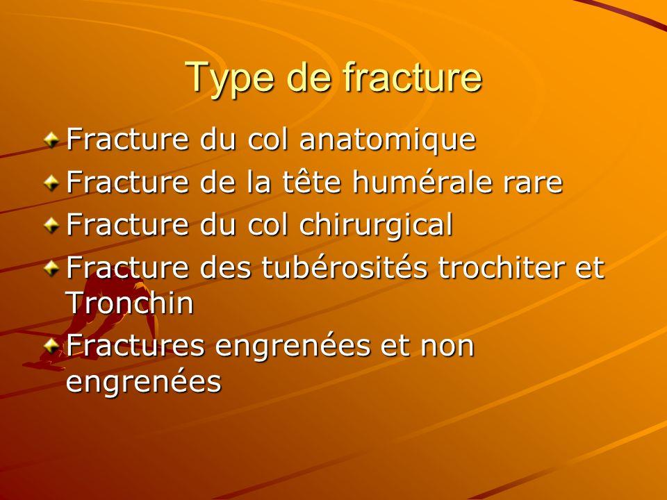 Type de fracture Fracture du col anatomique