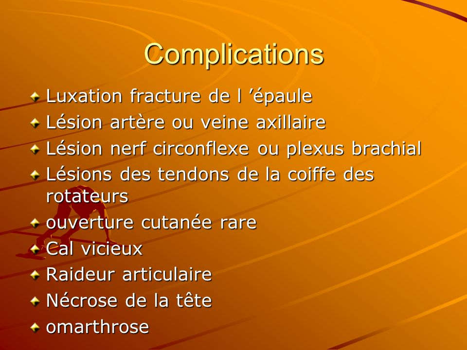 Complications Luxation fracture de l 'épaule