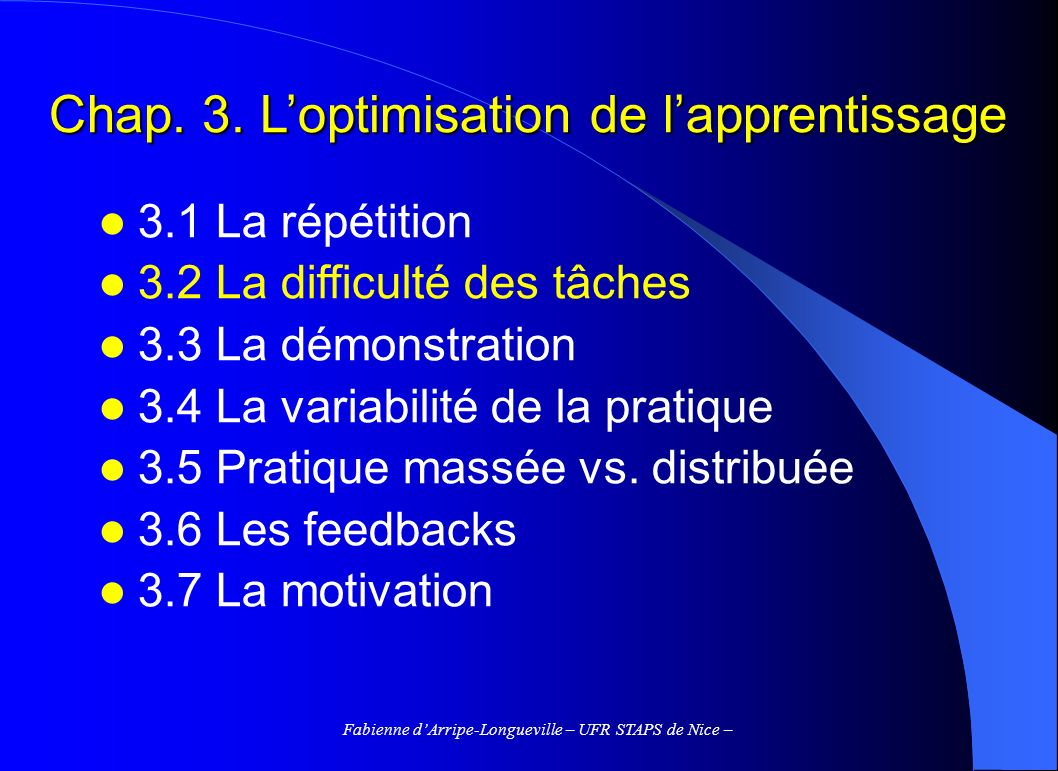 Chap. 3. L'optimisation de l'apprentissage