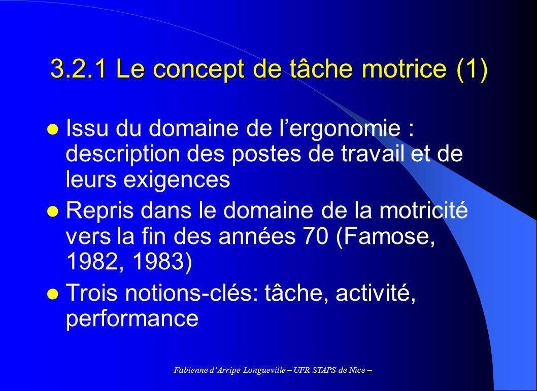 3.2.1 Le concept de tâche motrice (1)
